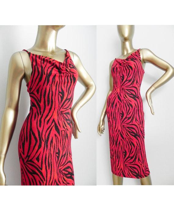 vintage red zebra print dress \ sparkling stretch