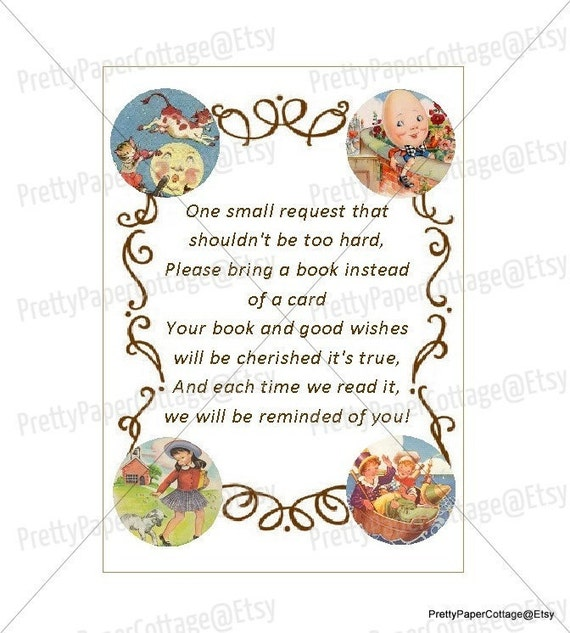 PRINTABLE Bring A Book Nursery Rhymes Mother Goose Baby Shower Birthday Party Book Gift Size 25x35 Prints 9 Per Page