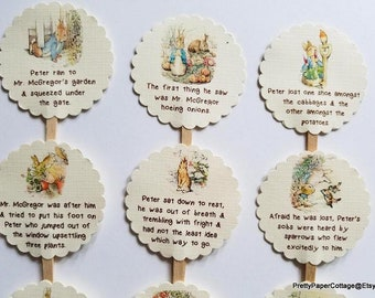 Peter Rabbit, Storybook, Cupcake Toppers, Baby Shower, Birthday Party, First Birthday, Cupcake Picks, Choose Quantity