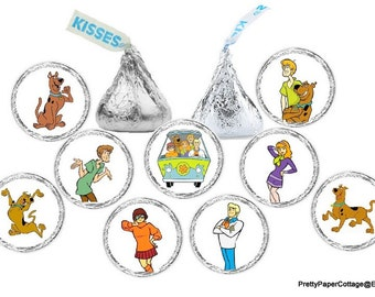 Scooby Doo Stickers, Candy Stickers, Birthday Favors, Hershey Kiss Stickers, 108 Stickers