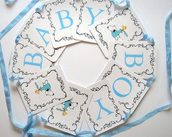 Snoopy Baby Shower Banner, Baby Boy Blue, Baby Girl Pink, Gender Neutral Green, Woodstock, Stork