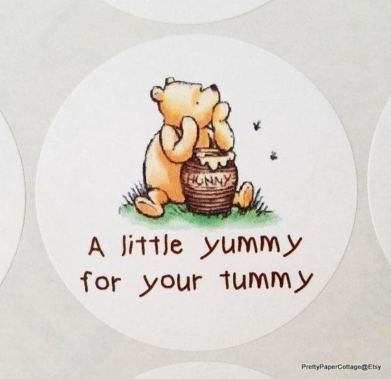 Winnie The Pooh Yummy For Your Tummy Thank You Peel Off Etsy