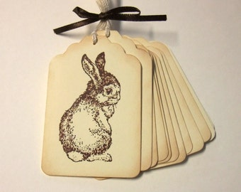 Baby Bunny Rabbit Tags, Baby Shower, Birthday Party, Easter, Set of 6 or 12