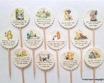 Poohism, Cupcake Toppers, Classic, Winnie the Pooh, Quotes, Baby Shower, Birthday Party, First Birthday, Cupcake Picks, Choose Quantity