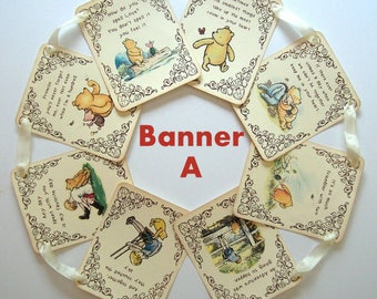 BANNER KIT, Winnie the Pooh Quotes, Winnie & Friends, DIY, Choose Design A or B, See Photos, Small or Large, Cream Cardstock,