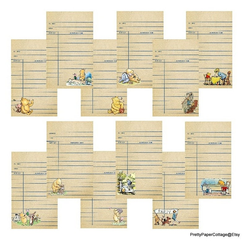 photo relating to Printable Library Cards known as PRINTABLE, Library Playing cards, Winnie the Pooh, 12 Playing cards, Traditional Impressed, PDF, Electronic Down load, Boy or girl Shower, Birthday, Measurement 2.75 x 4.75 inches