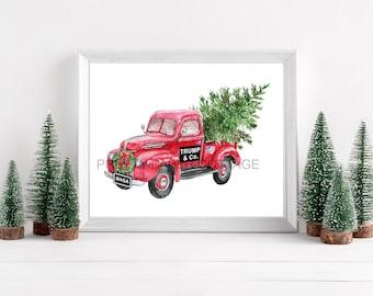 TRUMP & Co. Red Truck, Patriotic Christmas, Print, President Trump, MAGA, Trump, Christmas, MAGA Truck, 5x7 Print, 8x10 Print