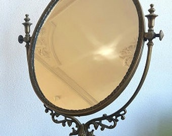 Art nouveau brass make up mirror; mirror on stand; table mirror