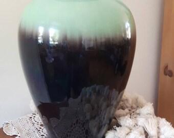 Large ceramic vase seagreen/brown Germany