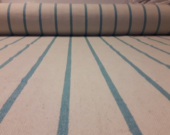Coarse woven fabric with mint stripes 160 cm wide