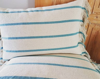 Ibiza style beach house cushion cover with turqoise stripes