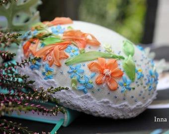 "Pin cushion ""Montbretia & Pansies"" silk ribbon embroidery"