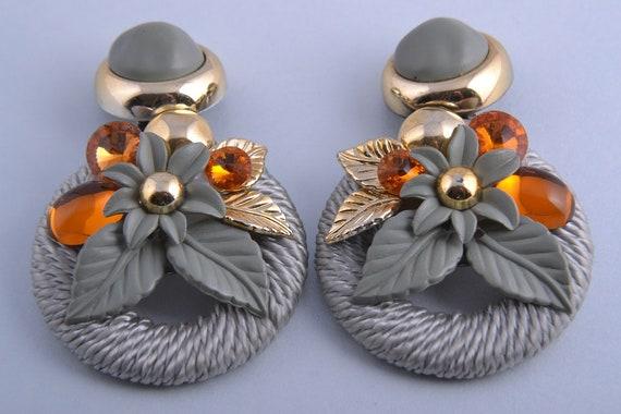 Silk Thread 1970's Clip On Earrings With Orange St