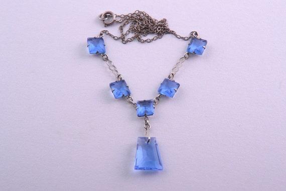 867d Crystal 1930/'s Cornflower Blue Czechoslovakian Necklace