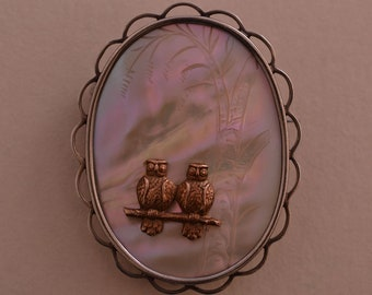 Silver Vintage Owl Brooch With Mother-Of-Pearl (914y4)