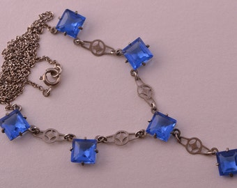 Crystal 1930's Cornflower Blue Czechoslovakian Necklace (867d)