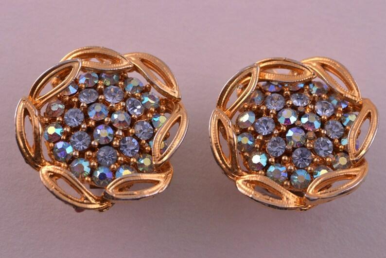 391k Gilt 1950/'s Vintage Clip On Earrings With Rhinestones