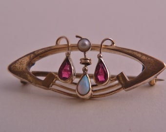 Gold Plated Art Nouveau Brooch  With Opal And Pearl (550z)