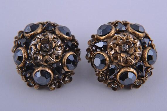1960's Clip On Earrings With Diamanté (215o)