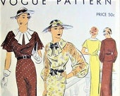 1930s GLAMOROUS Day or Party Evening Dress Pattern VOGUE 6975 Two Styles Peplum,Pleated Jabot Downton Abbey Bust 36 Vintage Sewing Pattern