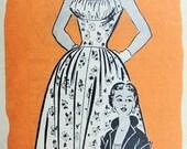 50s PIN UP Midriff Dress Jacket Pattern Marian Martin 9227 Rockabilly Shelf Bust Halter Evening Dress Bust 32 Vintage Sewing Pattern