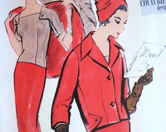 50s Classy 3 Pc Suit Pattern VOGUE COUTURIER DESIGN 997 Striking Couture Details Bust 32 Vintage Sewing Pattern