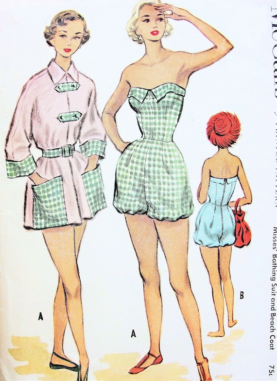 Vintage 50/'s Sewing Pattern Halter Neck Bathing Suit /& Beach Coat Pin Up B 34/""