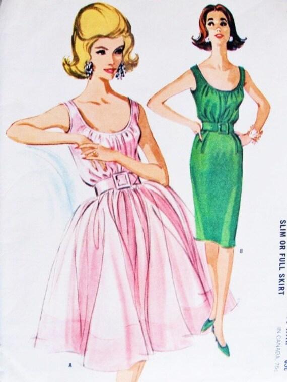 60er Jahre Cocktail-Kleid Schnittmuster McCalls 6607 geraffte | Etsy