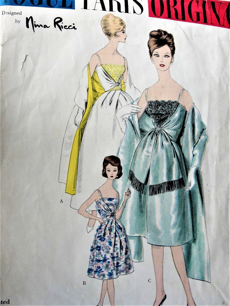 8aa4a96a68b 60s Glam Nina RICCI Evening Gown Cocktail DressStole Pattern