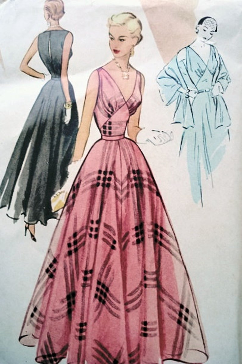 1950s EVENING PARTY Dress McCall  8437 Gown Slip and Stole image 0