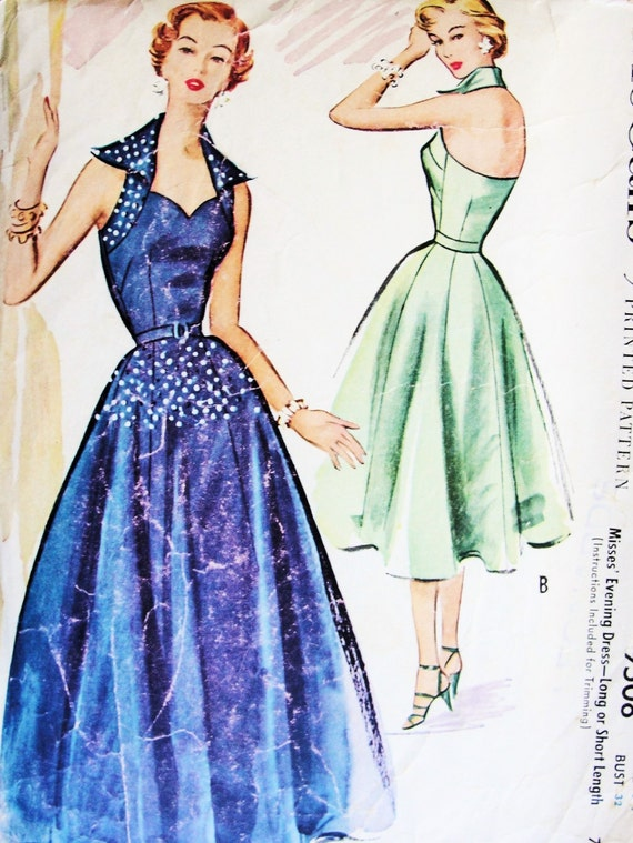 50s EVENING DRESS Gown Pattern McCalls 9508 Bombshell Sweetheart Neck Wing Collar Halter Top Full Skirt B 30 Vintage Sewing Pattern UNCUT