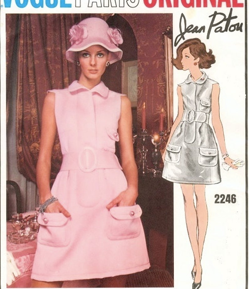 487ca8c1587 RARE 60s Patou Mod Dress Pattern Vogue Paris Original 2246