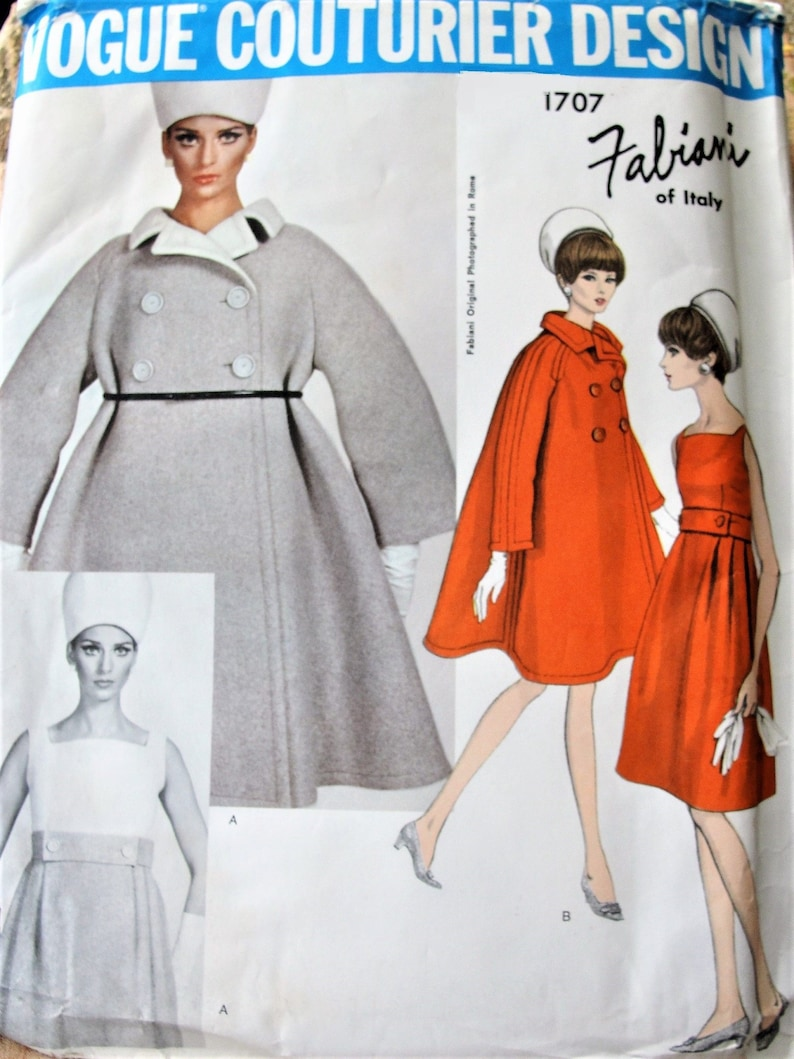5ba5eebabe3 60s FABIANI Tent Coat and Dress Pattern VOGUE Couturier Design