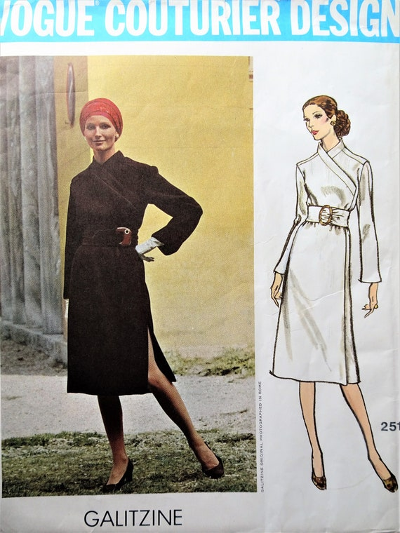 60s VOGUE COUTURIER Design 1691 Fabiani Gorgeous Evening Gown Coat Pattern Formal or Cocktail Length Bust 36 Vintage Sewing Pattern