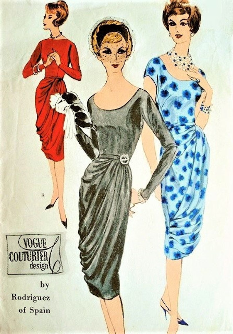 e2f0e62303b 1960 STUNNING Rodriguez Cocktail Evening Dress Pattern Vogue