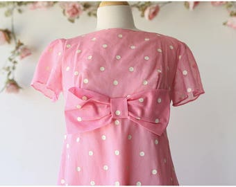 Vintage Pink and White Polka Dot Maxi Dress - Bubble Gum Pink Dress with Oversized Bow - Cute Kawaii Empire Waist Maxi Dress - Size Medium