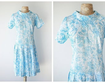 Blue and White 1960's Dropwaist Dress - Drop Waist Vintage Summer Dress with Pleated Skirt - Pastel Floral Dress - Size Large