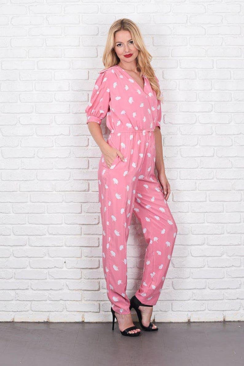 d85d01fa8c6 Vintage 80 Pink White Floral Print Jumpsuit Puff Sleeve