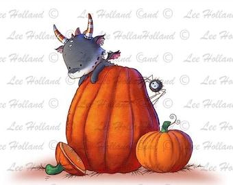 Dragon on halloween pumpkin colour, Card making, Dragon, Scrapbooking, Cute, printable
