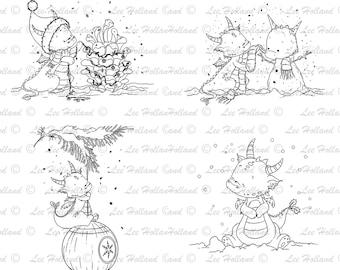 22 Dragons Digital stamps Christmas Bundle, Card Making, Digital stamp, Digi Stamp, Cute Digital stamps