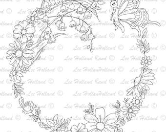 woodland floral Border, digital stamp, Card making, Digi, Stamp,