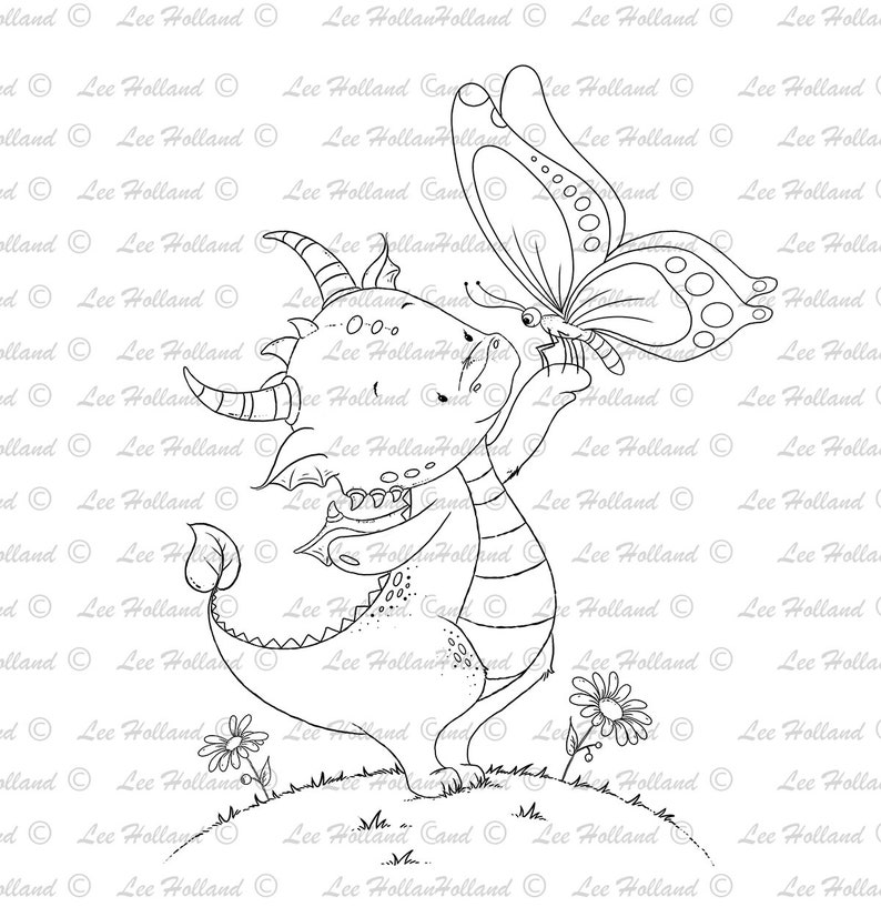 Stamp Card Making Digital Stamp Dragon with butterfly Digi