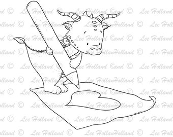 Dragon drawing a heart, Card Making, Digi, Digital Stamp, Stamp