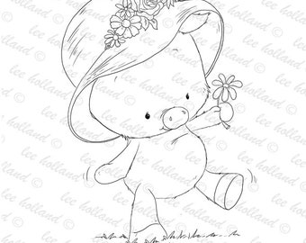Piglet with flower