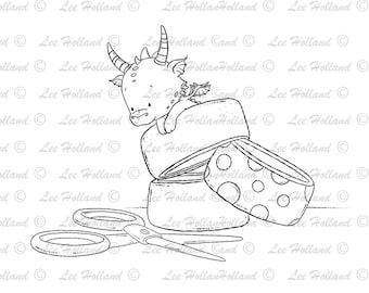 Dragon with scissors, Card Making, Digi, Digital Stamp, Stamp