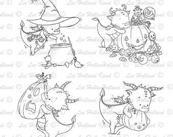 15 Dragon halloween collection, Digital stamp Card Making, Digi, Stamp