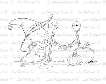 Dragon hanging halloween bunting, Digital stamp Card Making, Digi, Stamp
