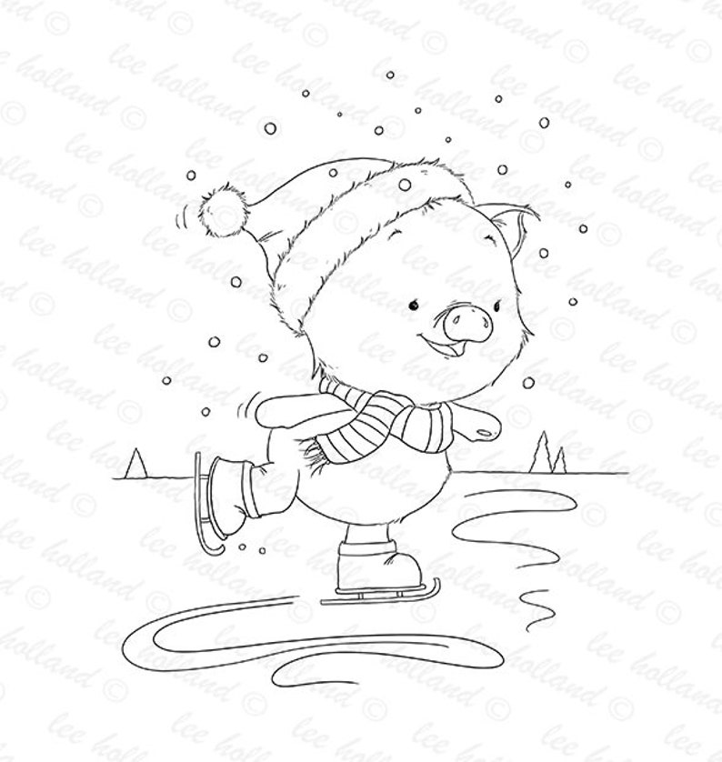Piglet ice skating card making digital stamp colouring book image 0