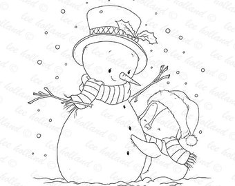 Digital stamps, Snowman with penguin, card making, colouring book, cute Digital Stamp, Digital Stamp