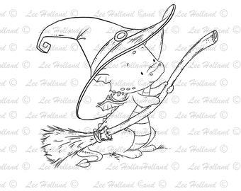 Dragon holding halloween broom stick, Digital stamp Card Making, Digi, Stamp
